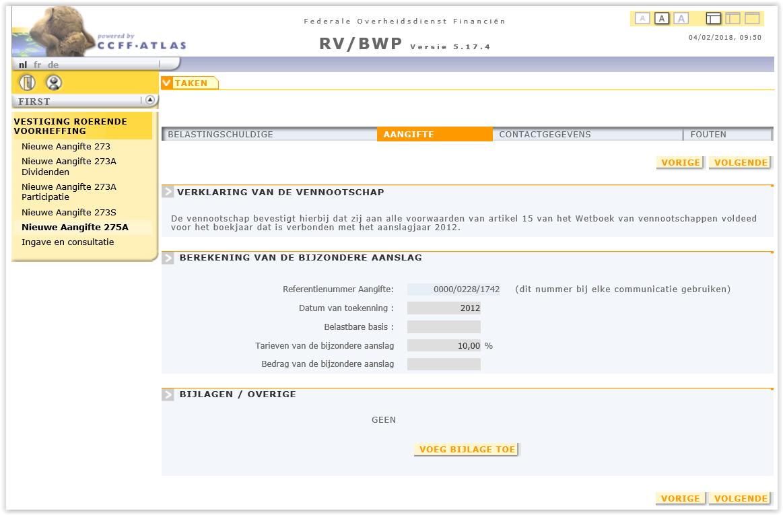 275A bijzondere liquidatiereserve aj 2012
