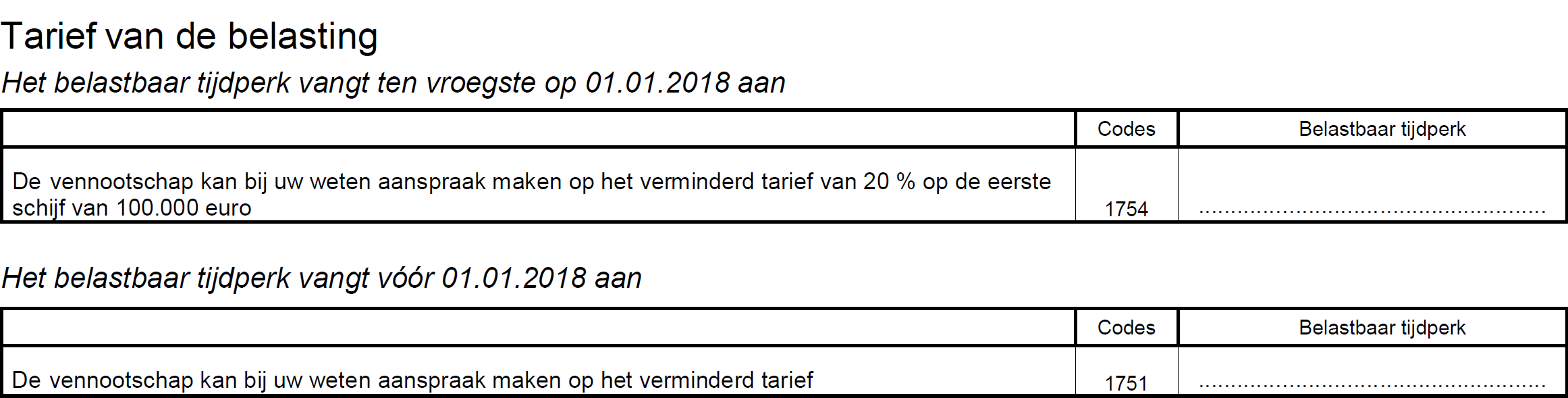 Tarief van de belasting AJ 2019