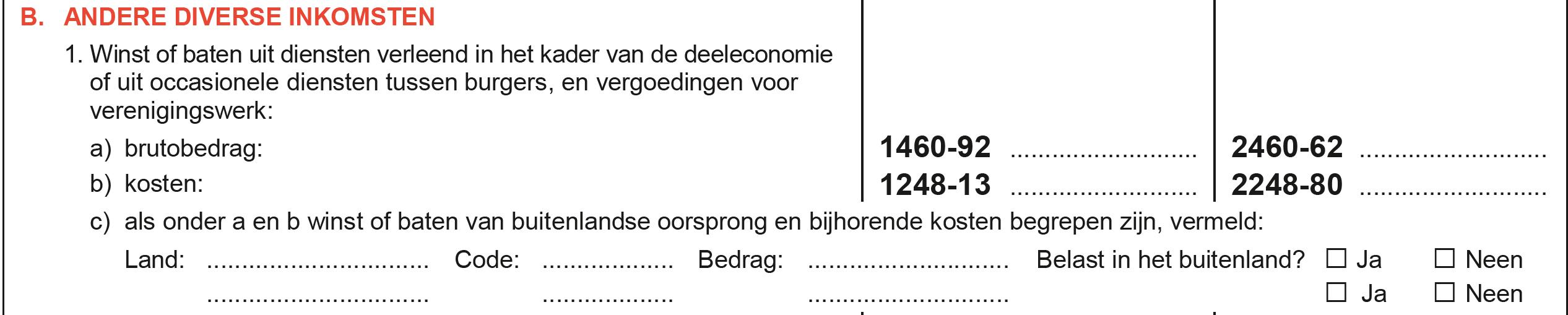 Vak IX Diverse inkomsten deeleconomie