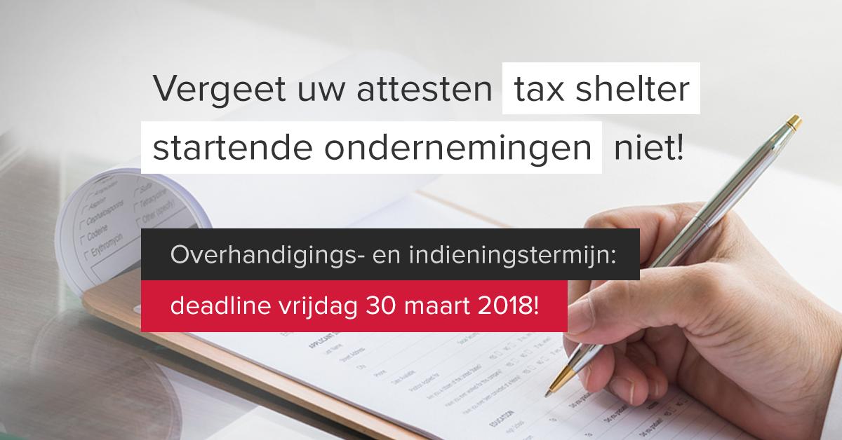Tax shelter startende ondernemingen deadline 30 maart 2018