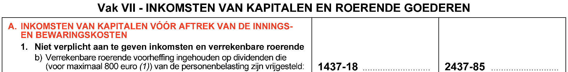 vrijstelling dividenden aanslagjaar 2021