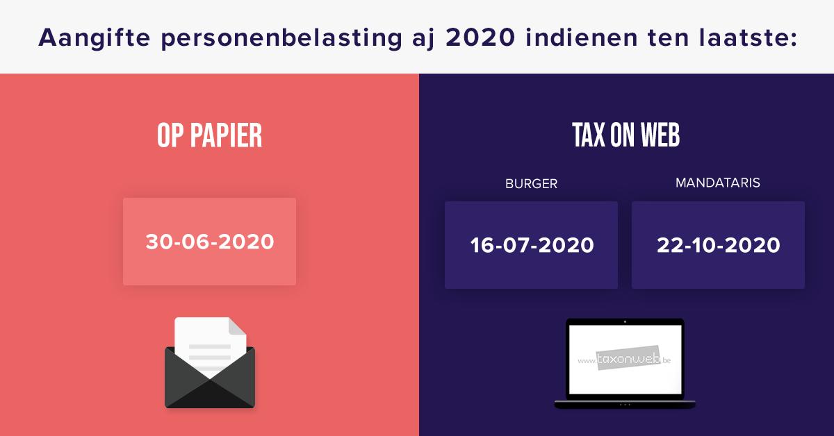 wanneer aangifte personenbelasting aj 2020 indienen